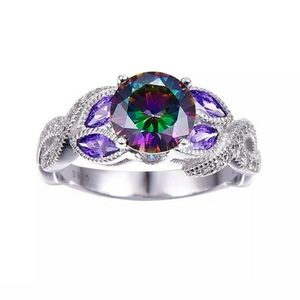 Fashion 925 Silver Ring Mystic Topaz